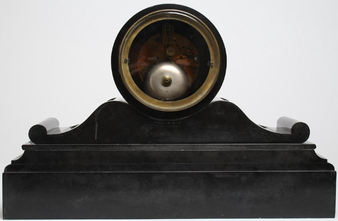 Black Marble Mantel Clock, Antique - 3