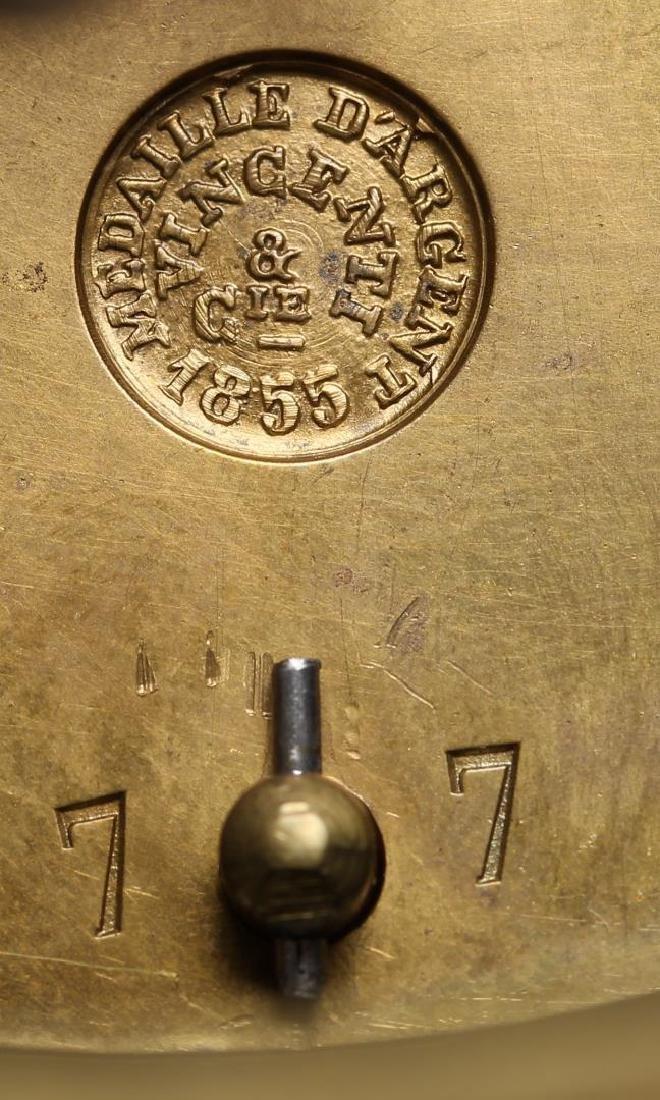 Black Marble Mantel Clock, Antique - 4