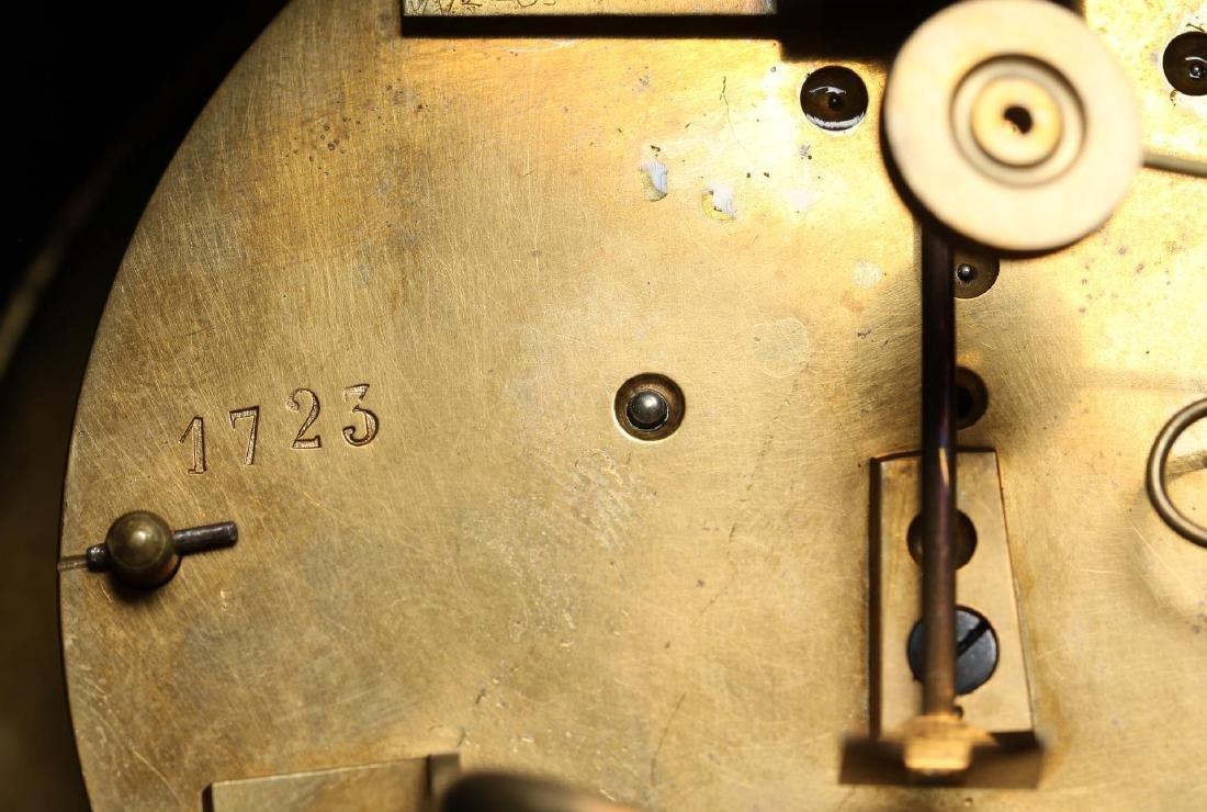 Black Marble Mantel Clock, Antique - 5