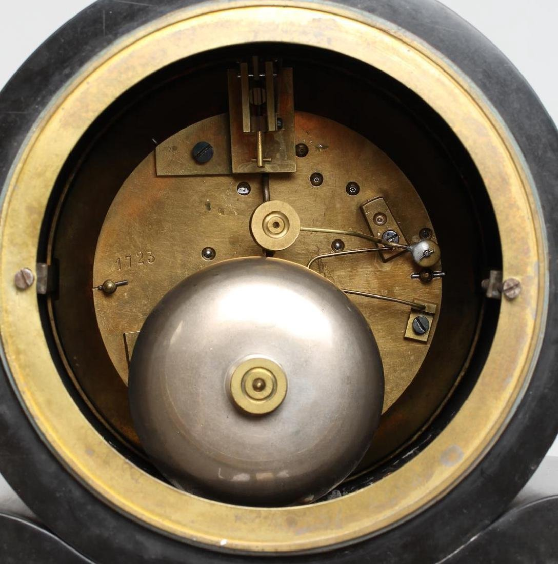 Black Marble Mantel Clock, Antique - 6