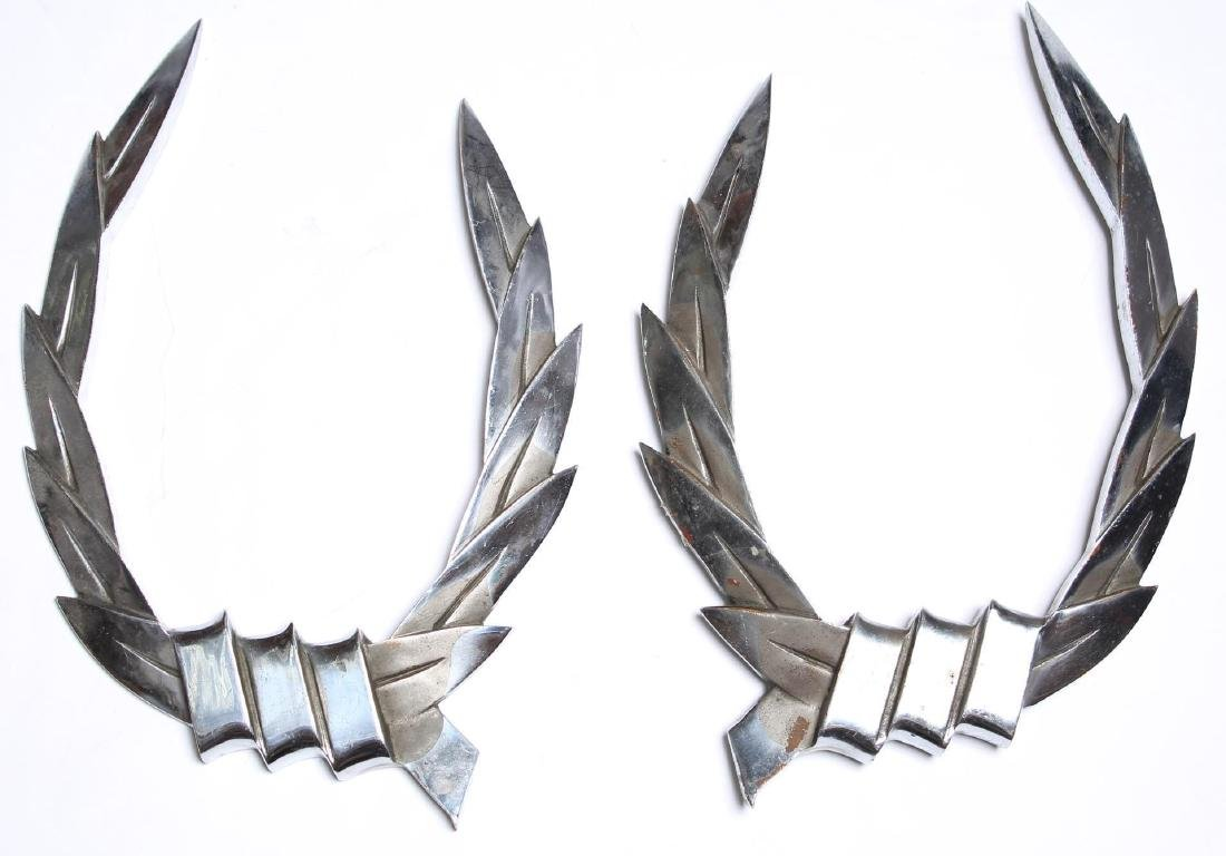 Mid-Century Chromed Steel Laurel Wreaths, Pair