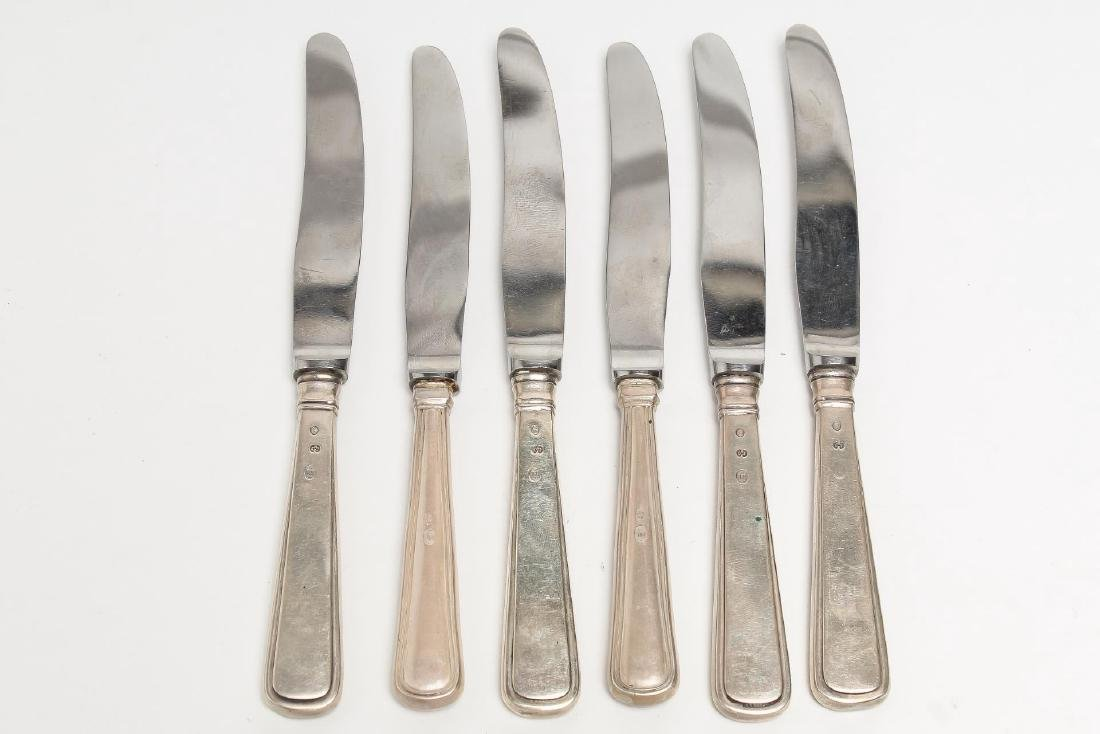 Danish Silver Butter Knives, 6 Assorted Vintage