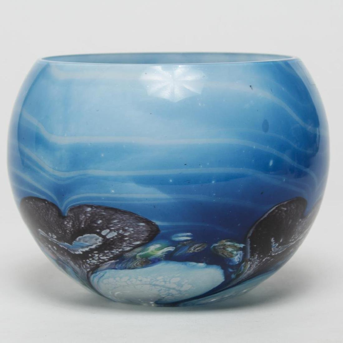 "Caithness Scotland ""Black Hearts"" Art Glass Bowl"
