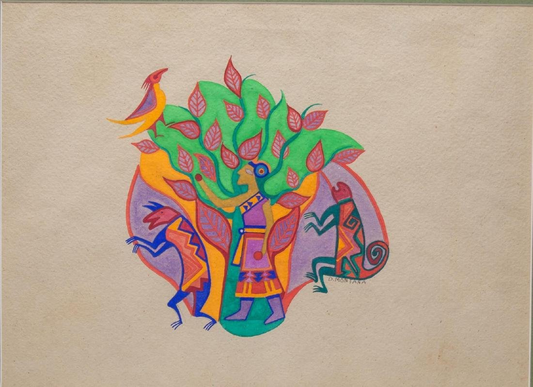 Native American Tempera on Paper- Signed D Montana