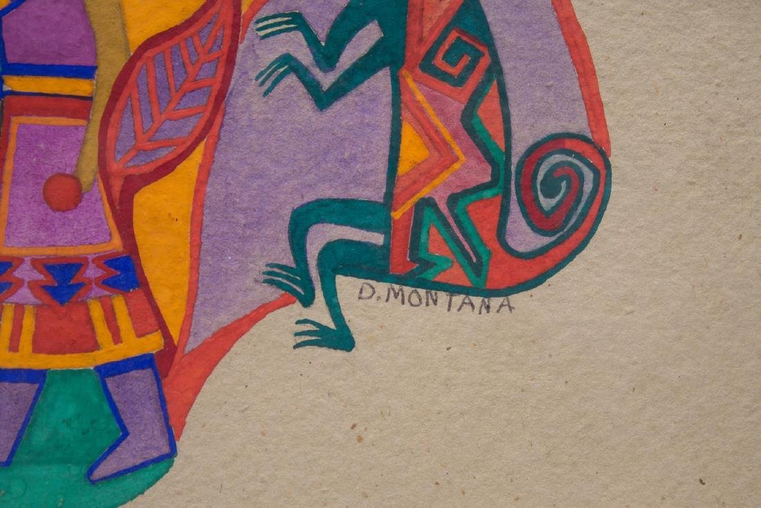 Native American Tempera on Paper- Signed D Montana - 3