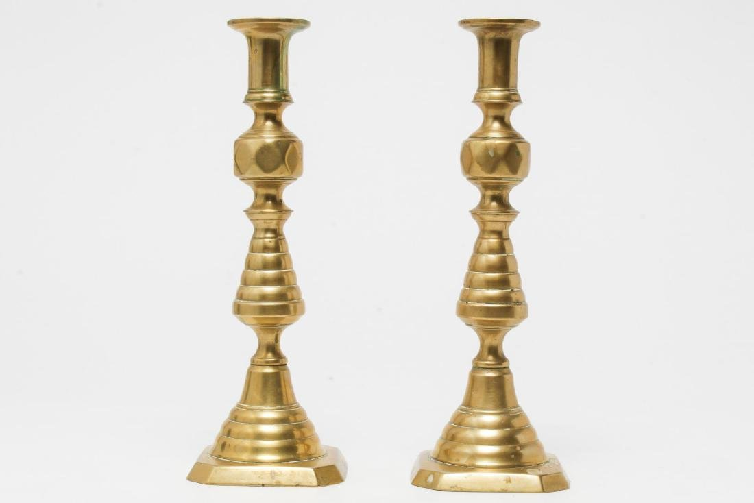Ecclesiastical Gilt-Brass Candlesticks, Pair