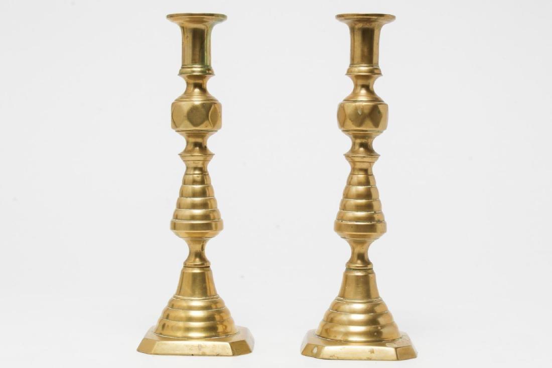 Ecclesiastical Gilt-Brass Candlesticks, Pair