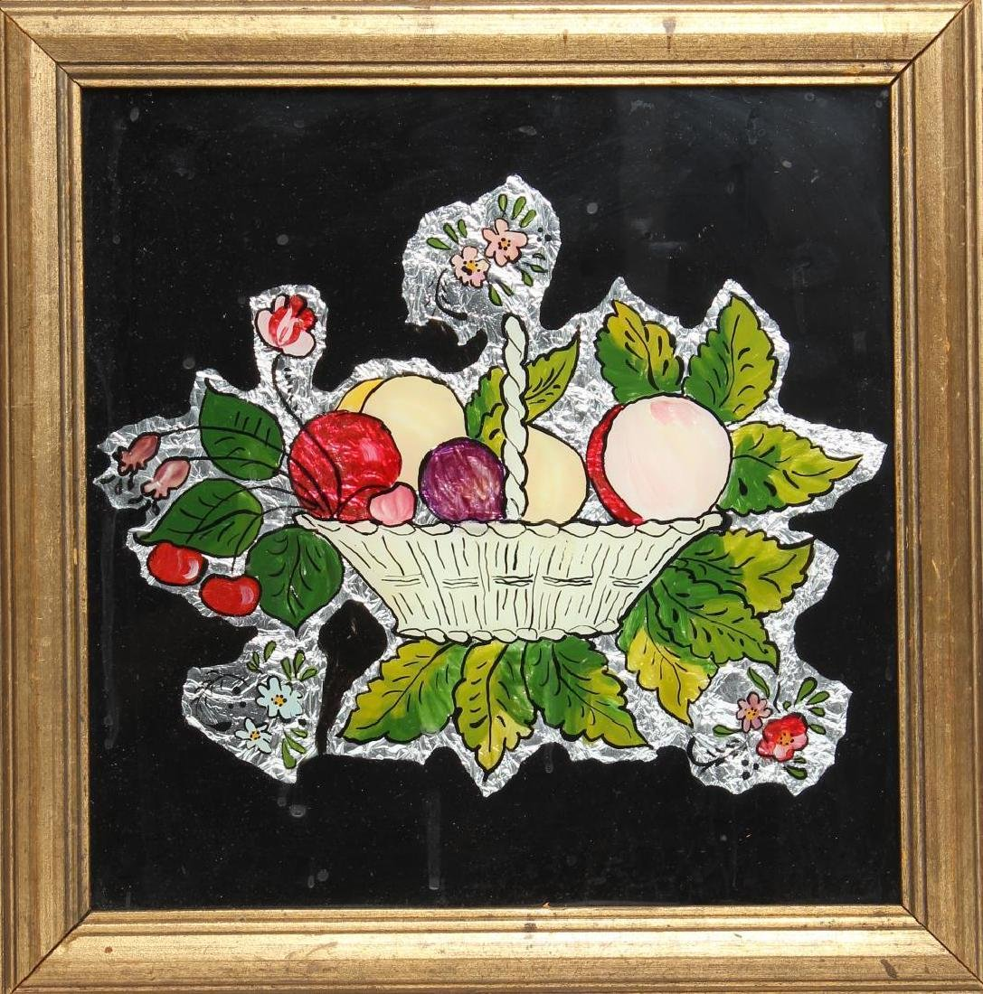 Folk Art Reverse Glass Painting, Still Life