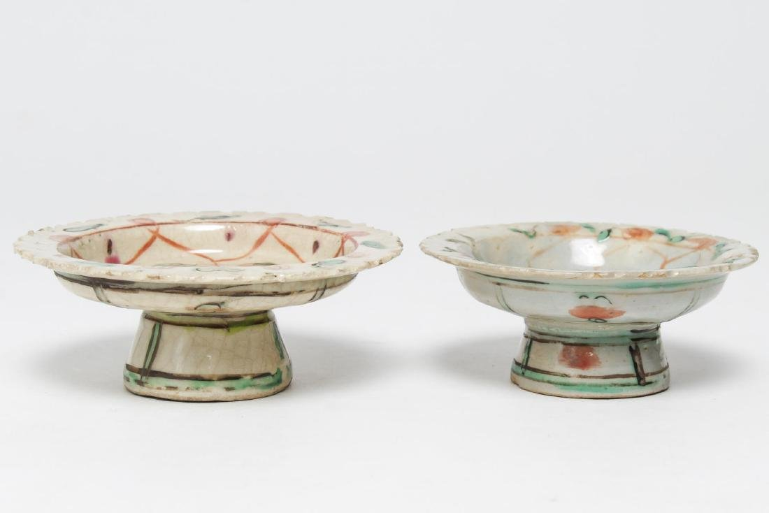 Chinese Gu & Enamel Porcelain Tazzas, 2