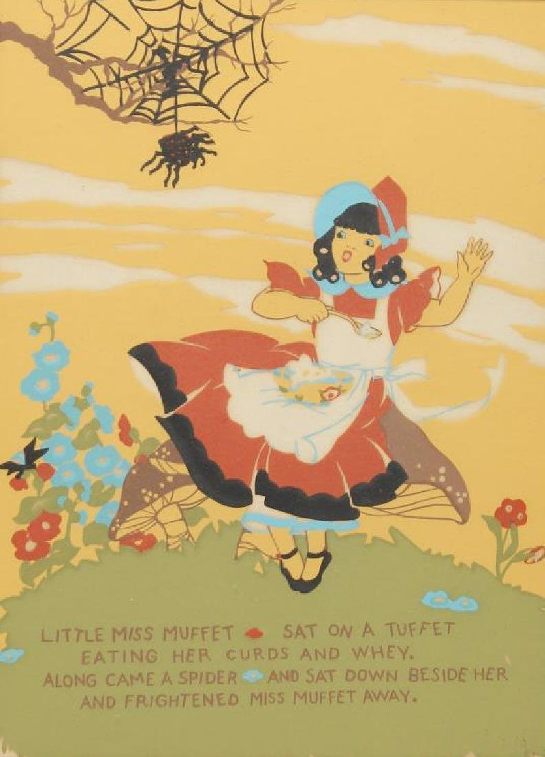 """Little Miss Muffet"" Vintage Nursery Rhyme Print"