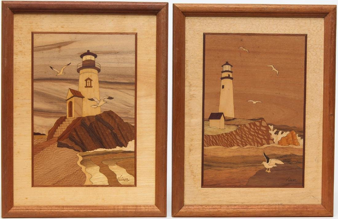 Marquetry Wood Inlay Landscapes, Signed Nelson, 2