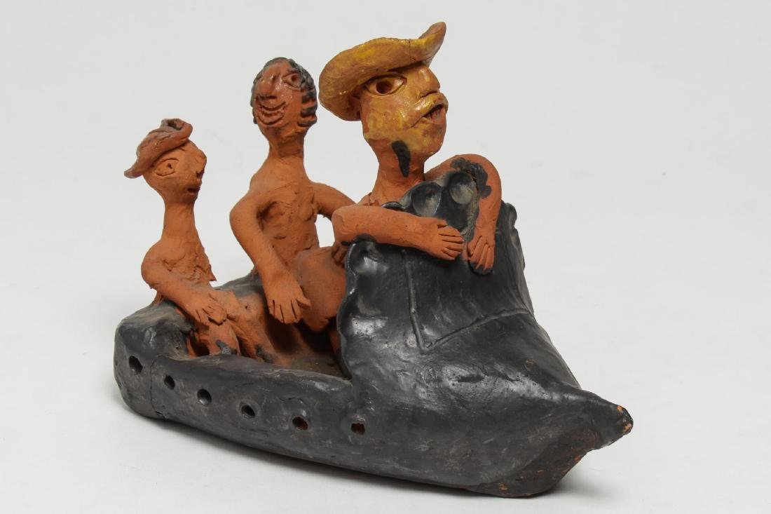 Cuban Folk Art Pottery Sculpture, Figures in Boat