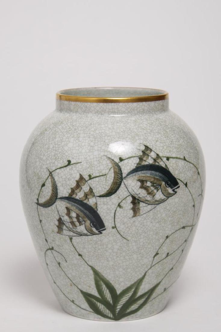 Danish Lyngby Porcelain Vase, Painted with Fish