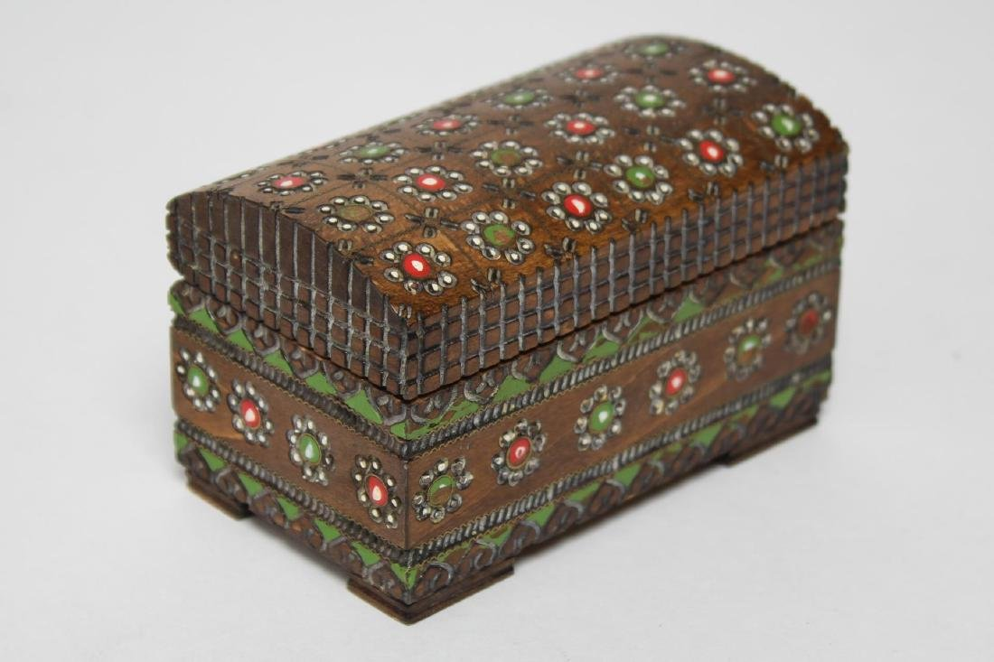 Polish & Indian Wood Boxes, 3 Carved & Painted - 10