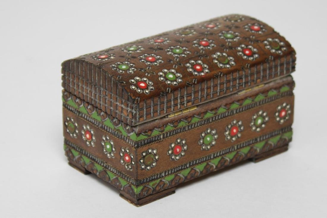 Polish & Indian Wood Boxes, 3 Carved & Painted - 11