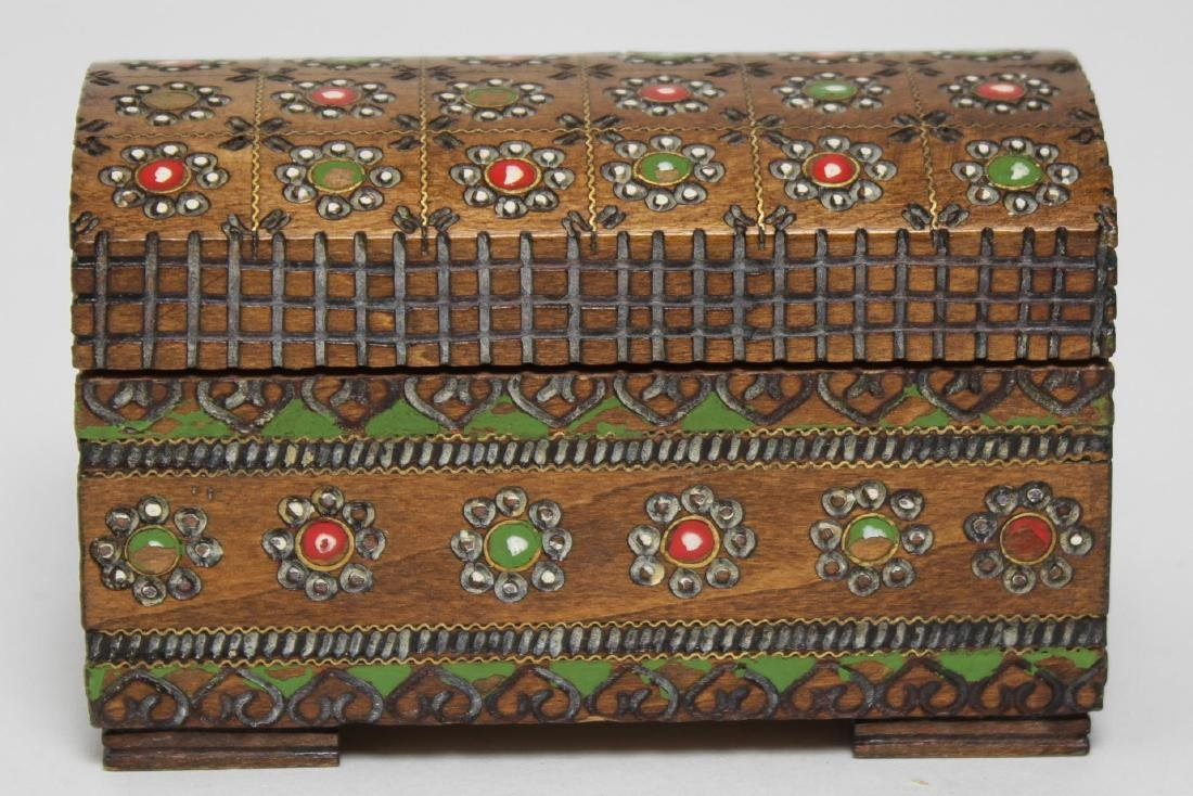 Polish & Indian Wood Boxes, 3 Carved & Painted - 12
