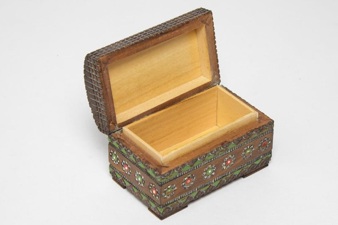 Polish & Indian Wood Boxes, 3 Carved & Painted - 13