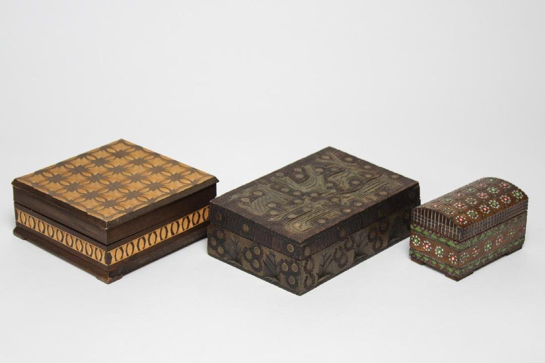 Polish & Indian Wood Boxes, 3 Carved & Painted