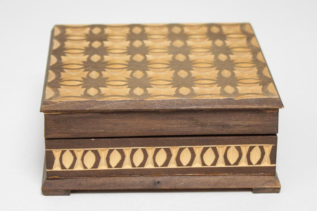 Polish & Indian Wood Boxes, 3 Carved & Painted - 2
