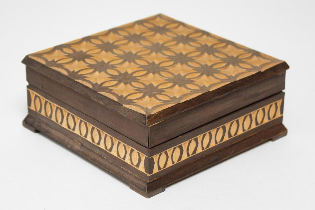 Polish & Indian Wood Boxes, 3 Carved & Painted - 3