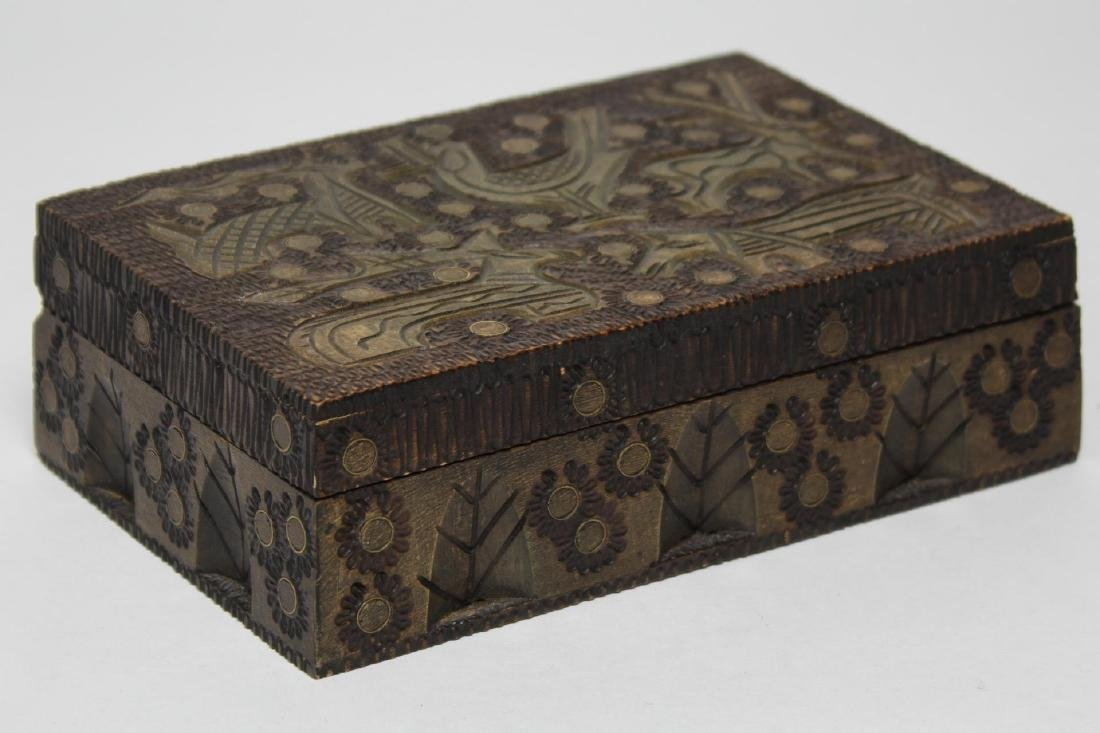 Polish & Indian Wood Boxes, 3 Carved & Painted - 6
