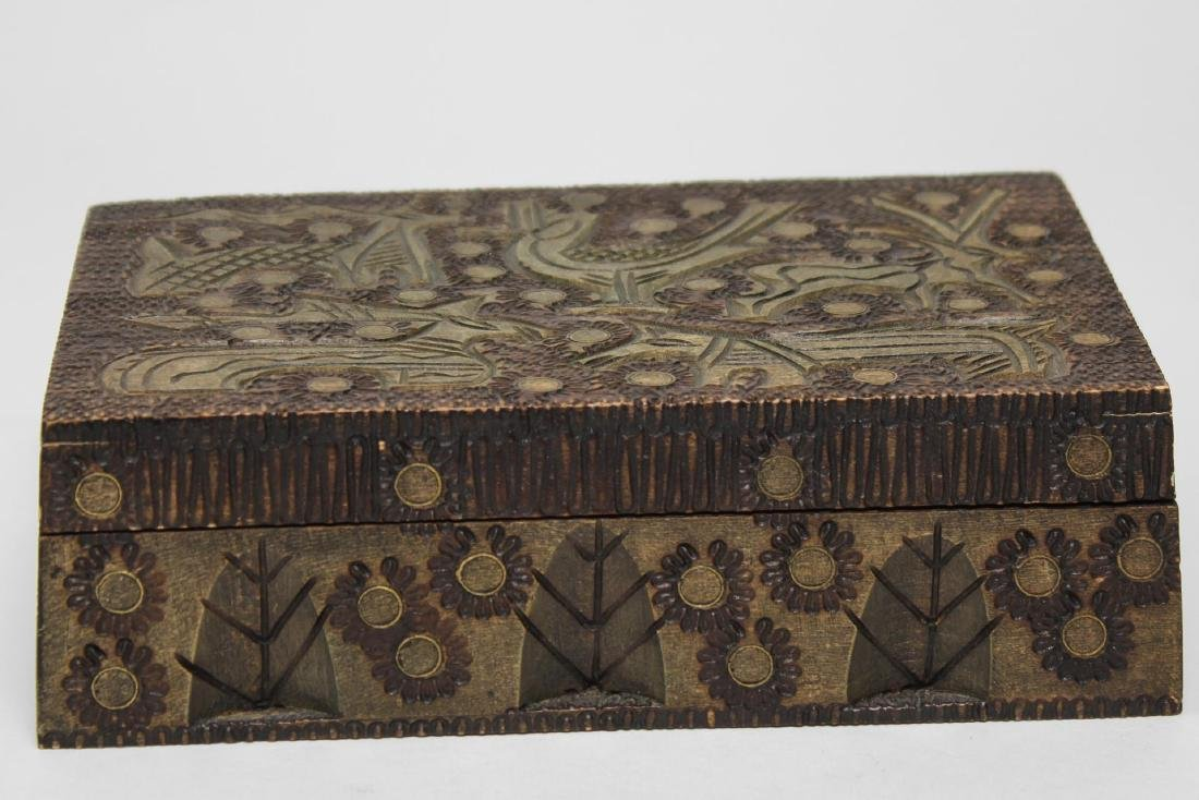 Polish & Indian Wood Boxes, 3 Carved & Painted - 7