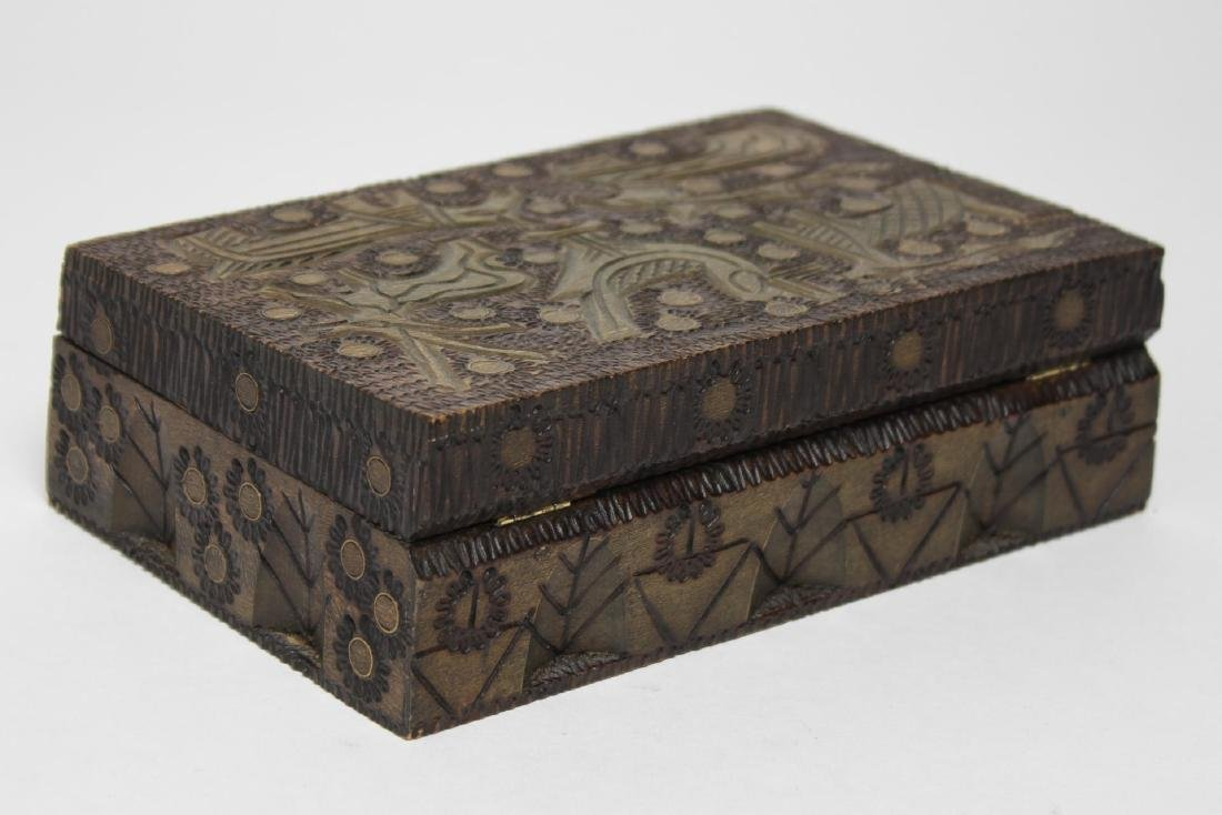 Polish & Indian Wood Boxes, 3 Carved & Painted - 8