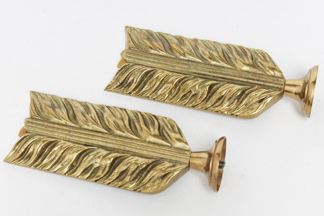 Curtain Pole Ends, Gilt Brass as Stylized Feathers