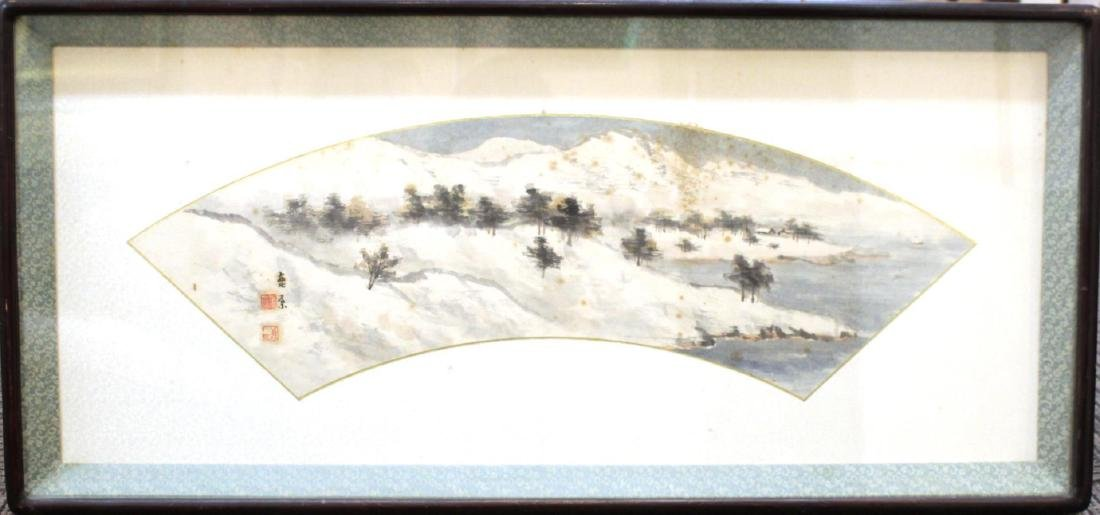 Asian Landscape Fan Painting, Ink on Paper