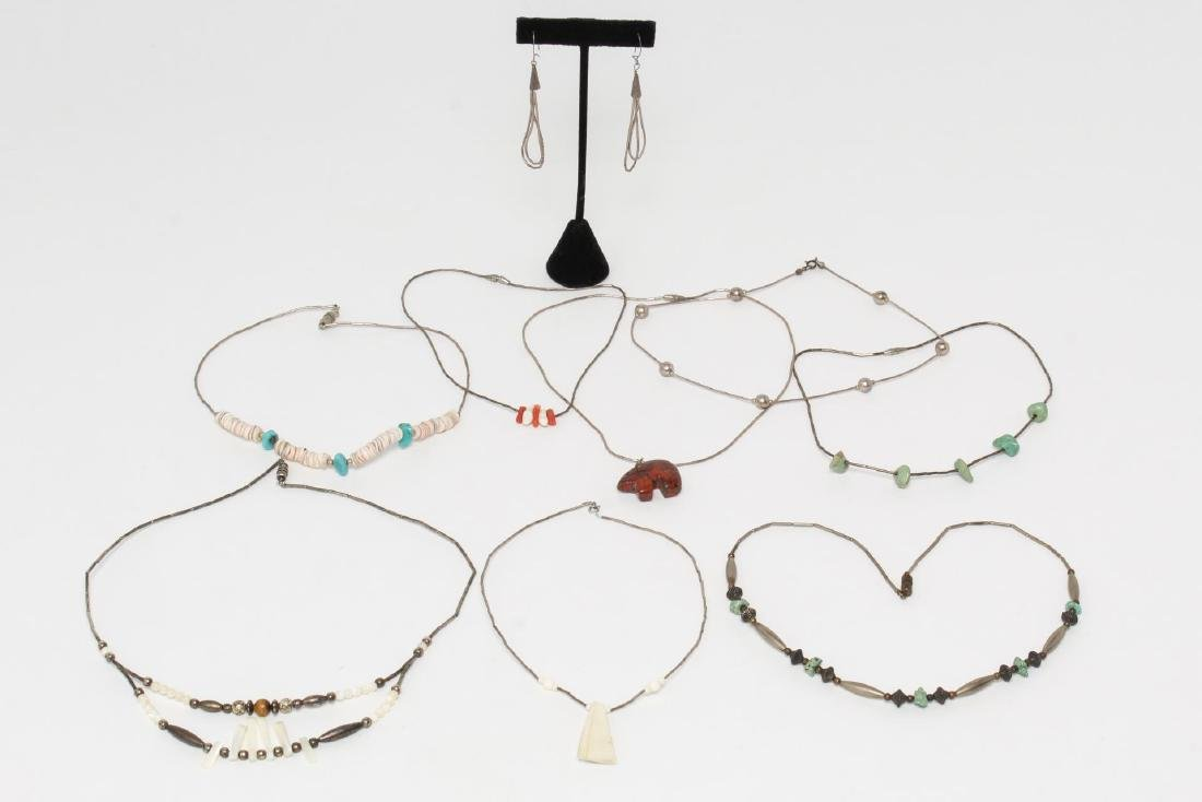 Navajo American Indian Silver & Other Necklaces