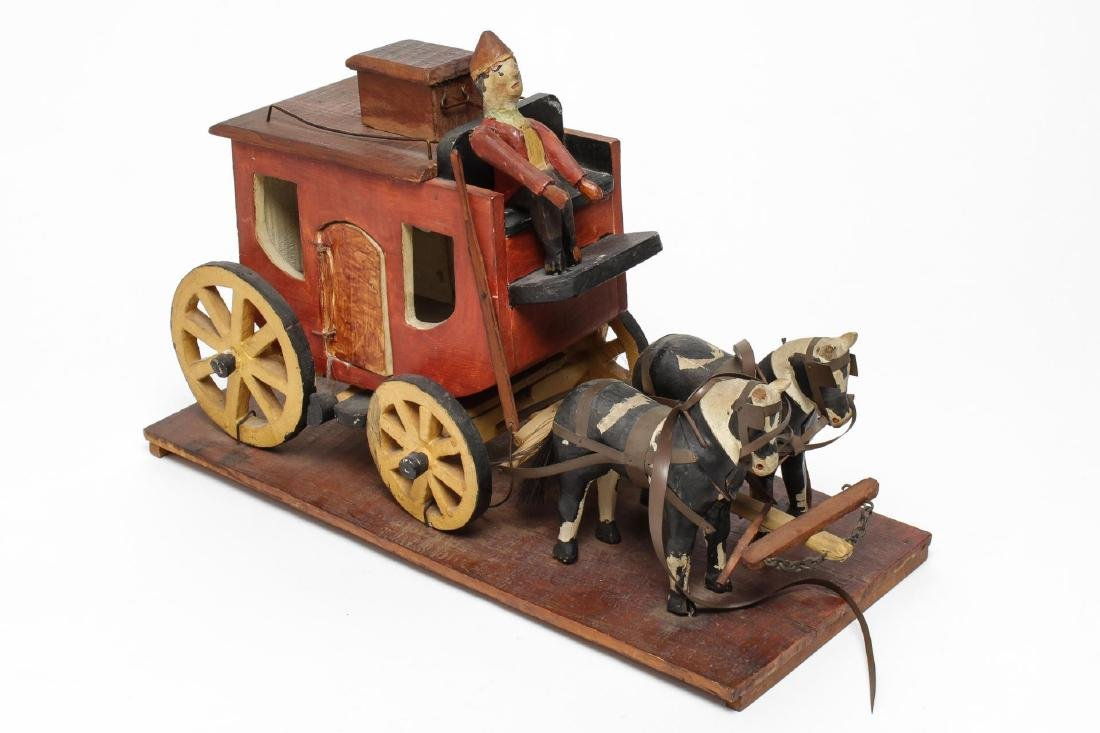 Folk Art Hand-Carved Horses & Carriage Sculpture