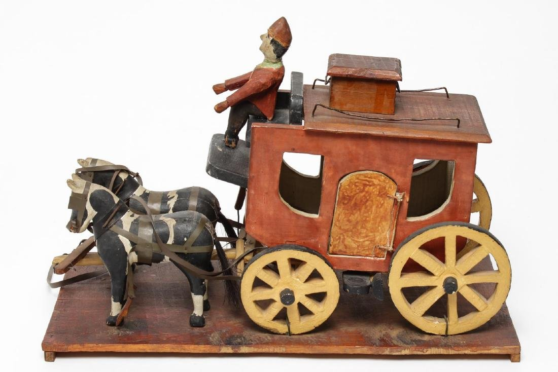 Folk Art Hand-Carved Horses & Carriage Sculpture - 2