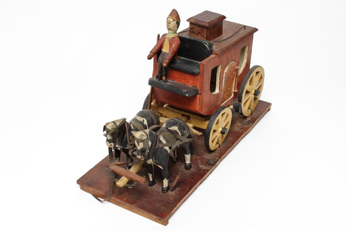 Folk Art Hand-Carved Horses & Carriage Sculpture - 3