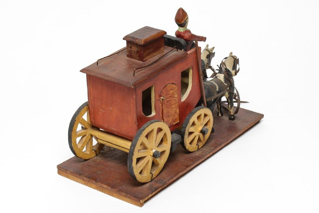 Folk Art Hand-Carved Horses & Carriage Sculpture - 4