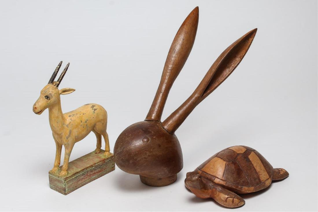 Folk Art Animal Figures, 3 Carved Wood