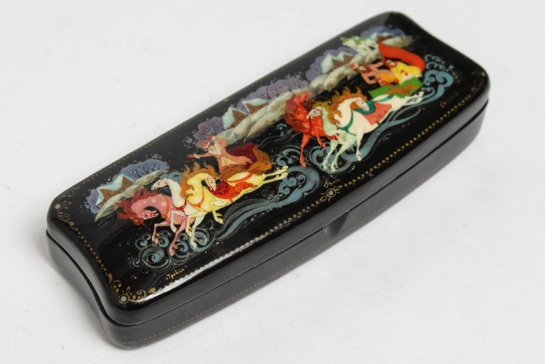 Russian Lacquer Eyeglasses Case, Hand-Painted