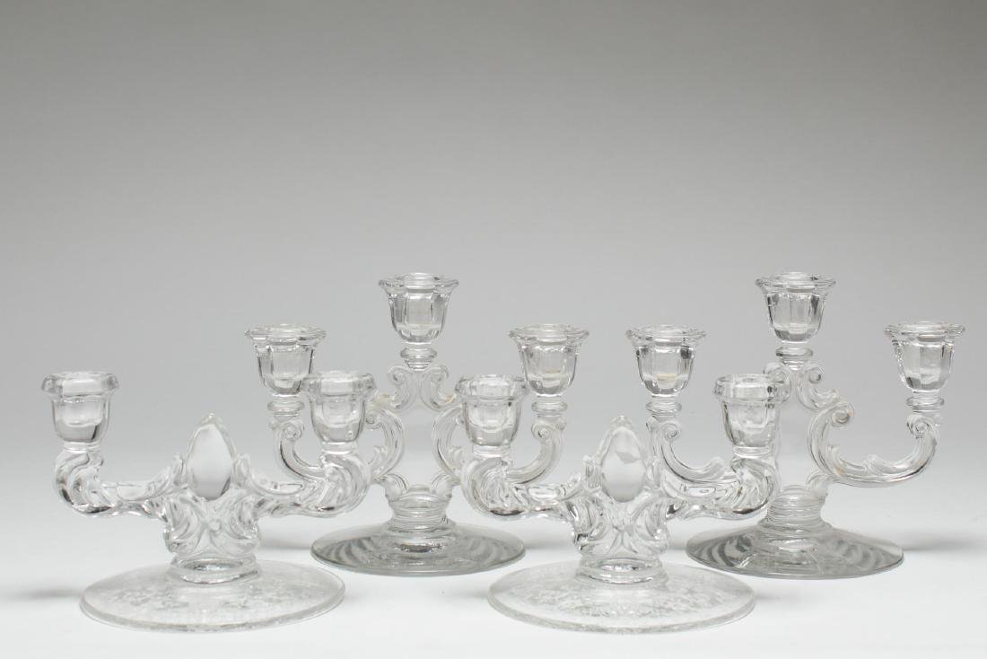 Pressed Glass Candlesticks, 2 Vintage Pair
