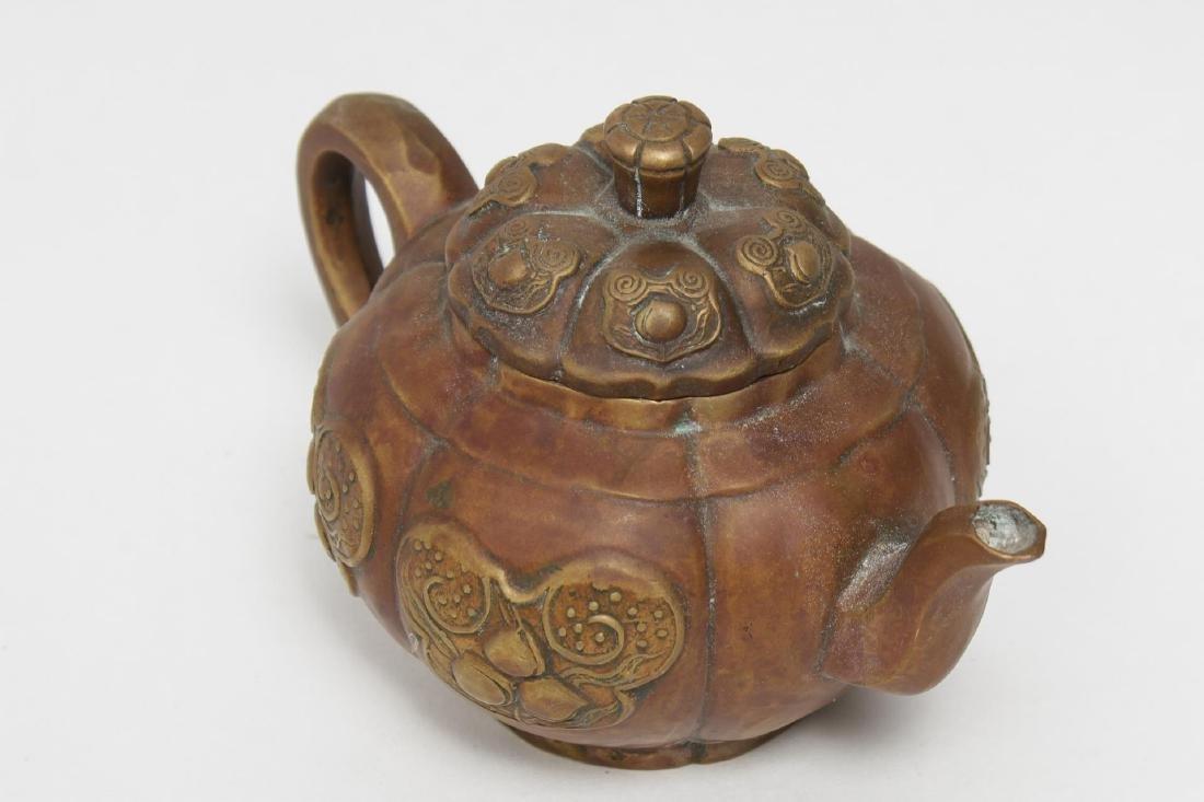 Chinese Brass Teapot, Pumpkin-Form, Yixing Manner
