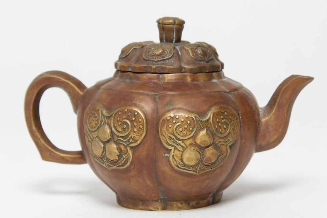 Chinese Brass Teapot, Pumpkin-Form, Yixing Manner - 2