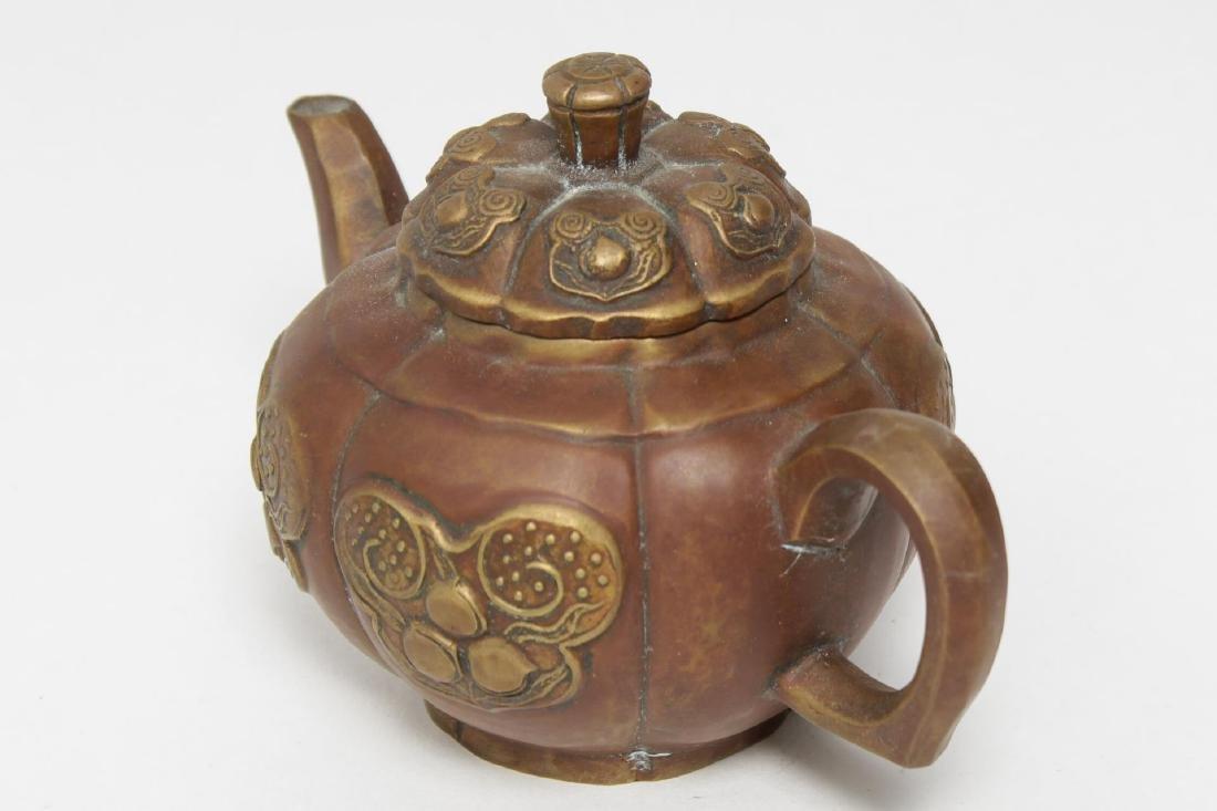 Chinese Brass Teapot, Pumpkin-Form, Yixing Manner - 3