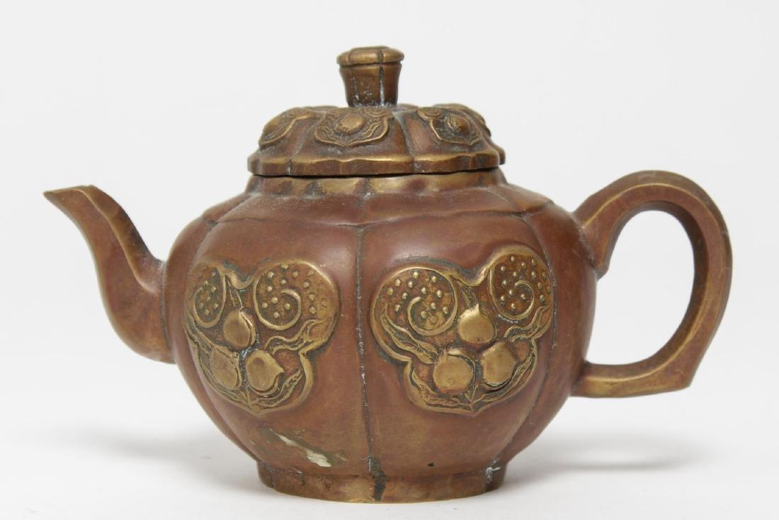 Chinese Brass Teapot, Pumpkin-Form, Yixing Manner - 4