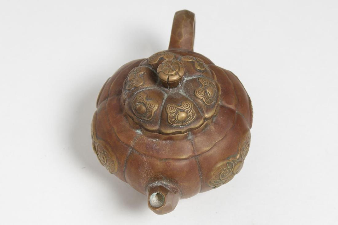 Chinese Brass Teapot, Pumpkin-Form, Yixing Manner - 5