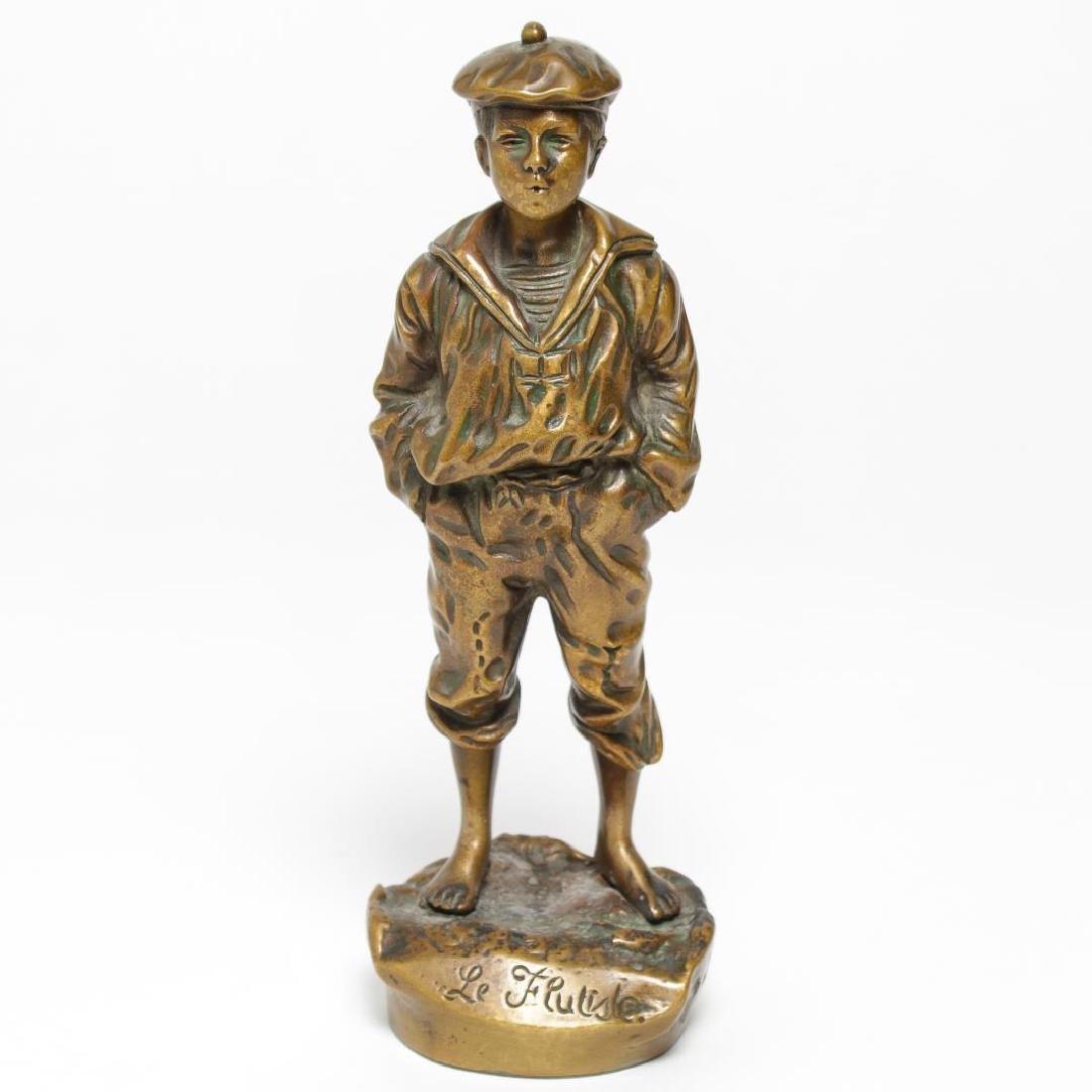 Vintage Bronze Tabletop Sculpture, Le Flutiste