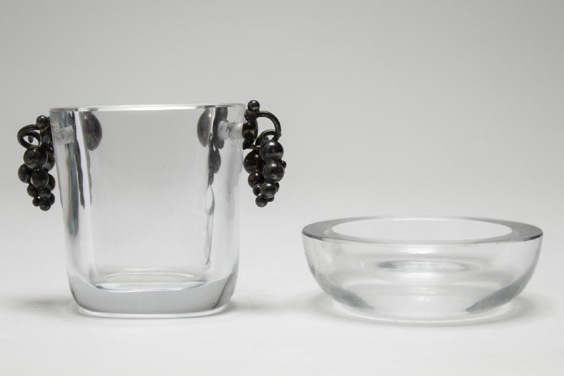 Swedish Art Glass & Silver Vase, with Small Dish