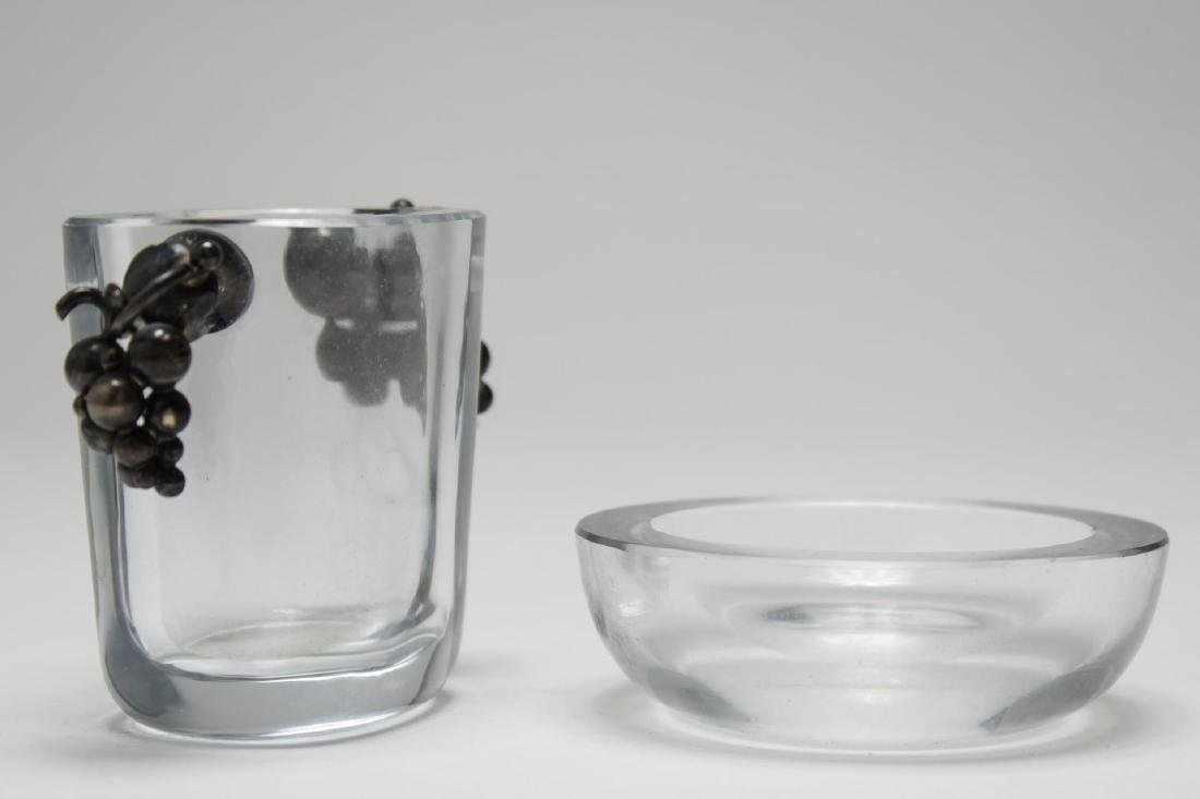 Swedish Art Glass & Silver Vase, with Small Dish - 2