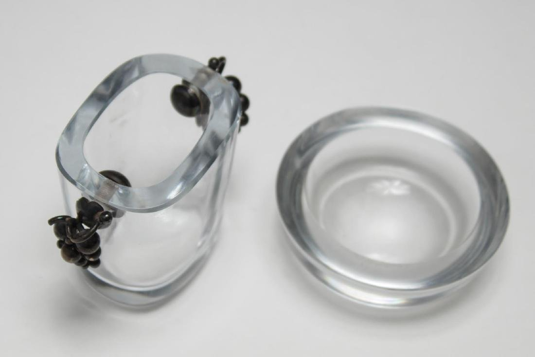 Swedish Art Glass & Silver Vase, with Small Dish - 3