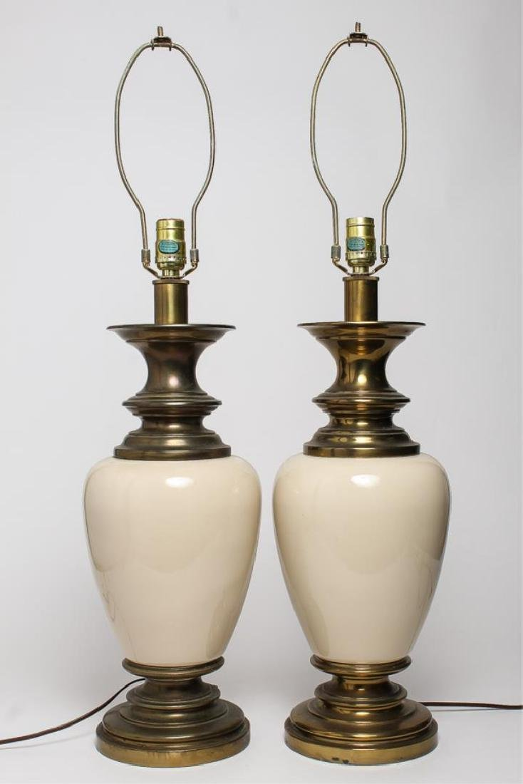 Table Lamps, Brass & White Porcelain Pair