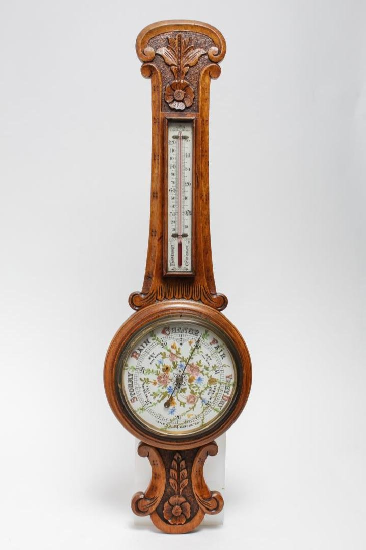 English Victorian Aneroid Barometer, Wall-Mounted