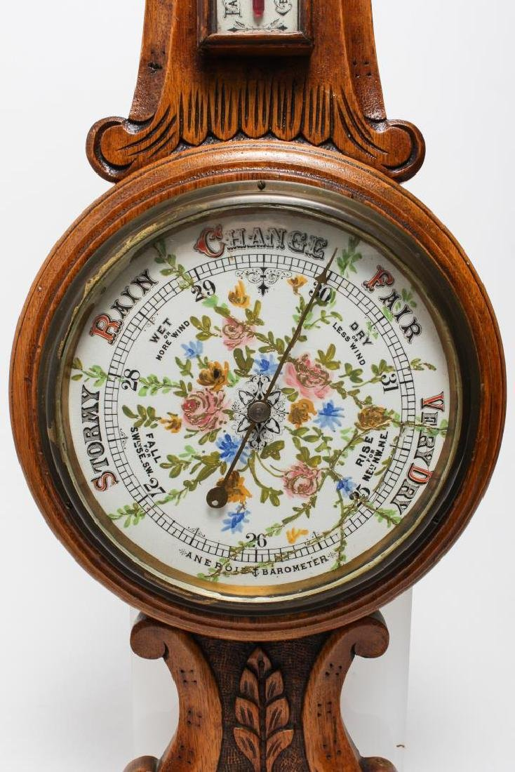 English Victorian Aneroid Barometer, Wall-Mounted - 2