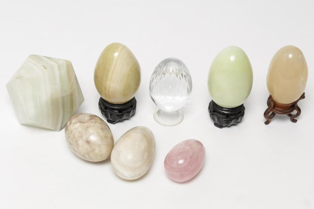 Stone & Baccarat Crystal Eggs, with Stone Prism